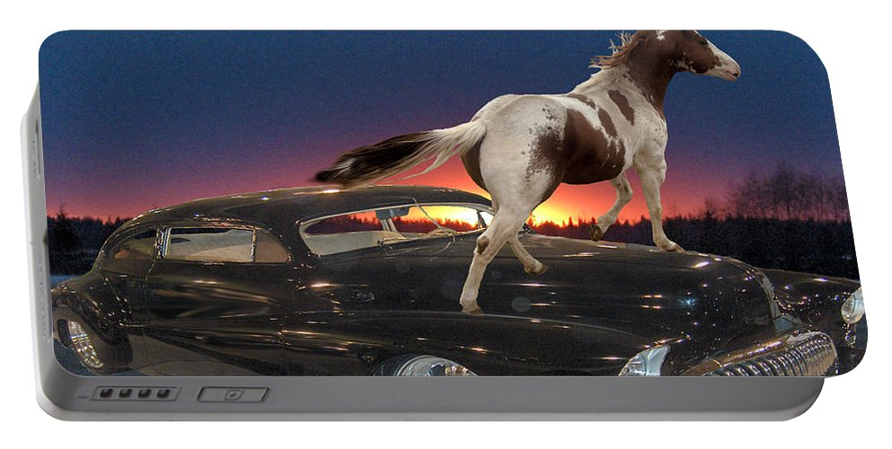 Classic Car Horse Sunset Trees Landscape Motor Chrome Sky Portable Battery Charger featuring the photograph Horse Power by Andrea Lawrence