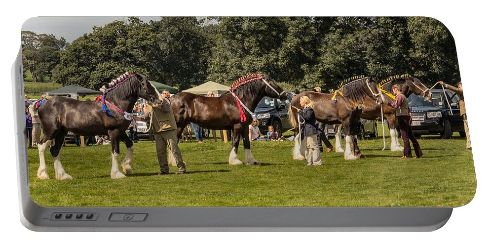 England - Countryside - Horses - Shire Horses - Decorated - Trees - Outdoors Portable Battery Charger featuring the photograph Horse Show by Chris Horsnell