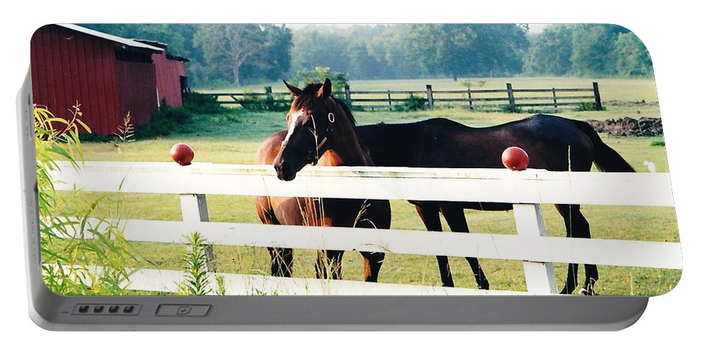 Horses Portable Battery Charger featuring the photograph Horse Stable by Michelle Powell
