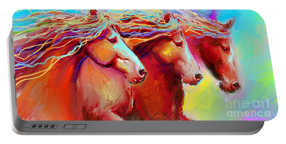 Horse Art Portable Battery Charger featuring the painting Horse Stampede Painting by Svetlana Novikova