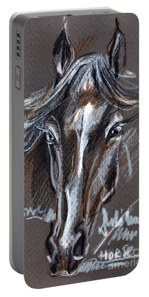 Crayons Drawing Portable Battery Charger featuring the drawing Horse Study by Daliana Pacuraru