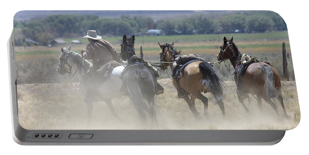 Cowboy Portable Battery Charger featuring the photograph Horse Thief by Jerry McElroy
