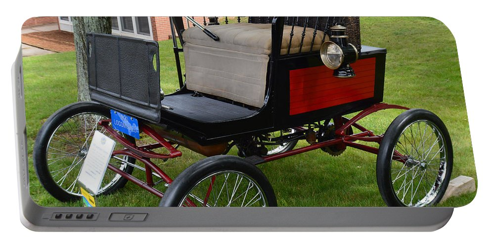 Cars Portable Battery Charger featuring the photograph Horseless Carriage-c by Charles HALL