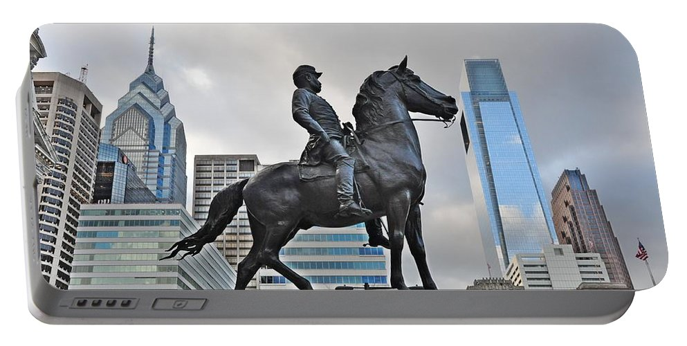 Philadelphia Portable Battery Charger featuring the photograph Horseman Between Sky Scrapers by Bill Cannon