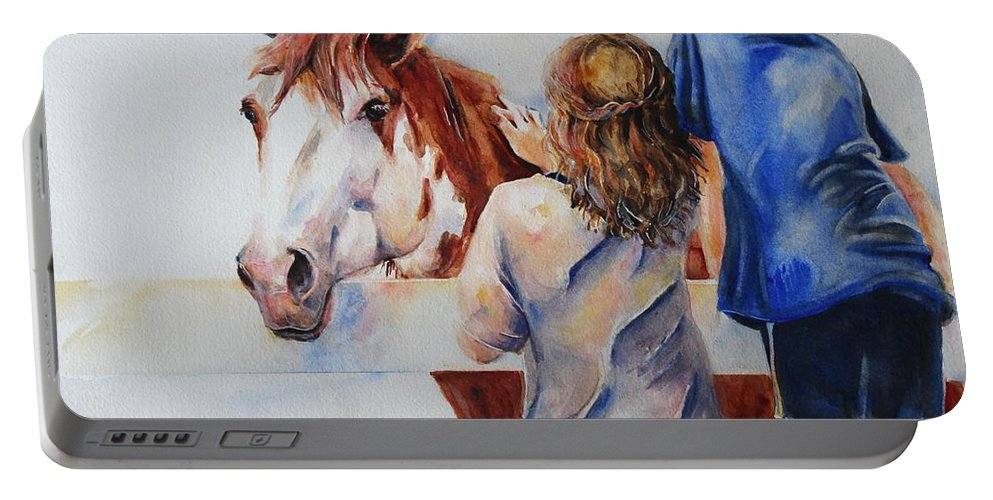 Horse Portable Battery Charger featuring the painting Horses And Children Painting by Maria's Watercolor