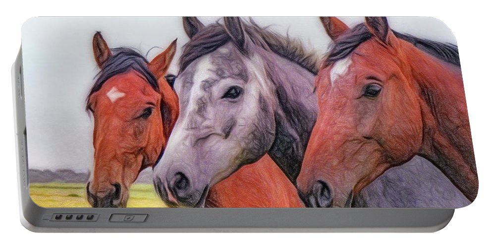 Horses Portable Battery Charger featuring the painting Horses - Id 16217-202746-6154 by S Lurk