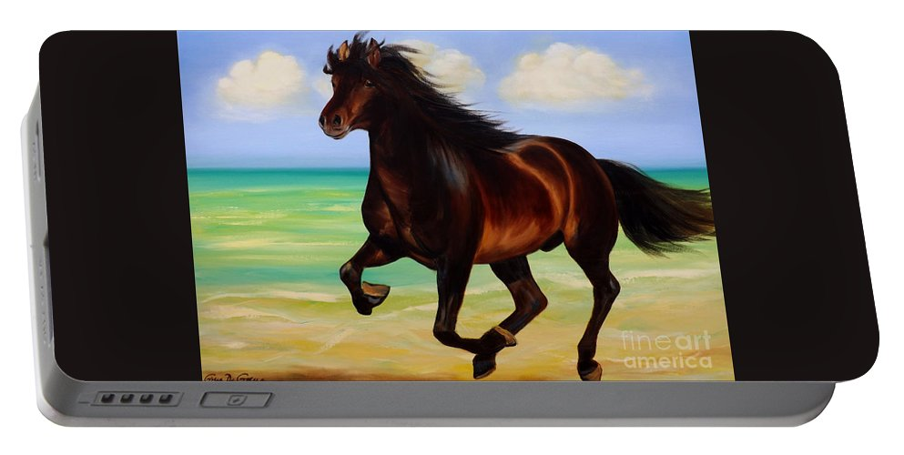 Horses Portable Battery Charger featuring the painting Horses In Paradise Run by Gina De Gorna