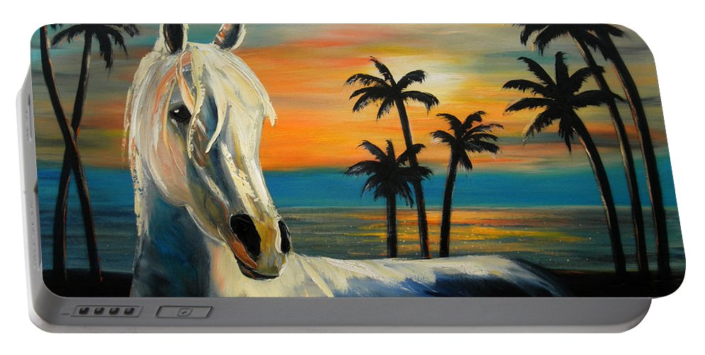 Horse Portable Battery Charger featuring the painting Horses In Paradise Tell Me Your Dream by Gina De Gorna
