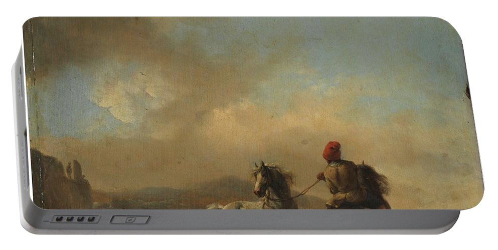 Wouwerman Portable Battery Charger featuring the painting Horses Startled By A Dog Ca by MotionAge Designs