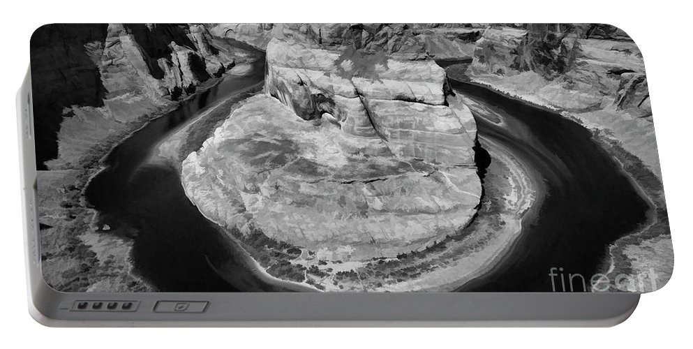 Horseshoe Bend Portable Battery Charger featuring the photograph Horseshoe Bend Black White by Chuck Kuhn