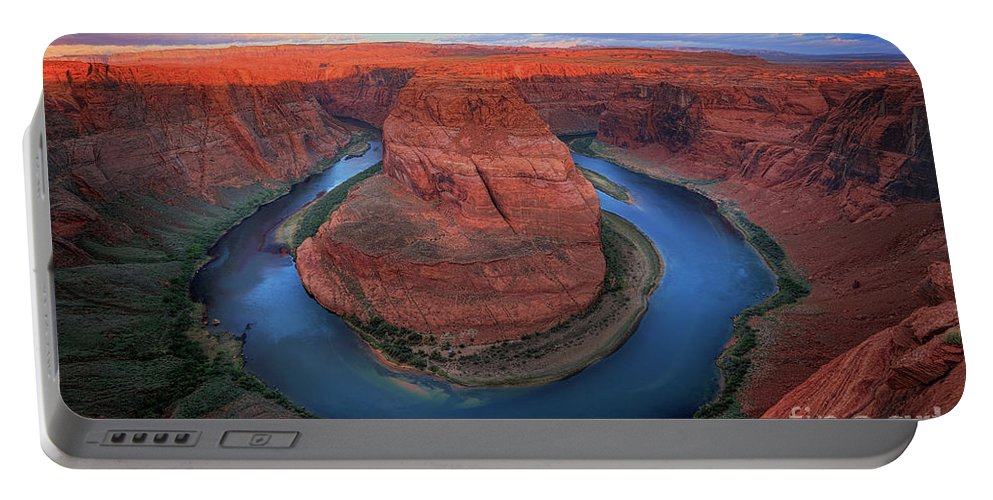 America Portable Battery Charger featuring the photograph Horseshoe Bend Sunrise by Inge Johnsson