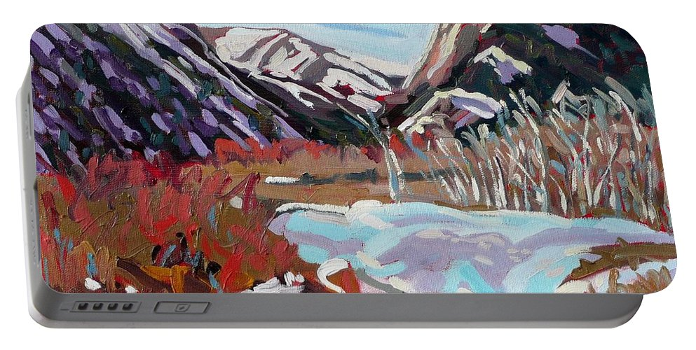 Fall River Portable Battery Charger featuring the painting Horseshoe Park by Phil Chadwick