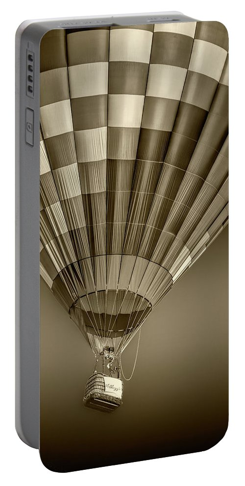 Balloon Portable Battery Charger featuring the photograph Hot Air Balloon And Bucket In Sepia Tone by Randall Nyhof