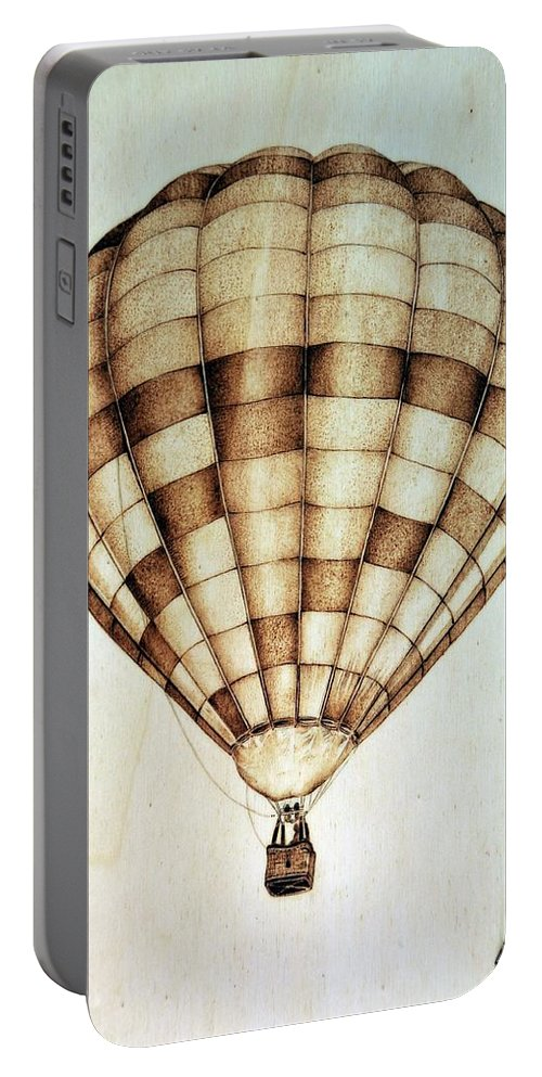 Hot Air Balloon Portable Battery Charger featuring the pyrography Hot Air Balloon by Ilaria Andreucci
