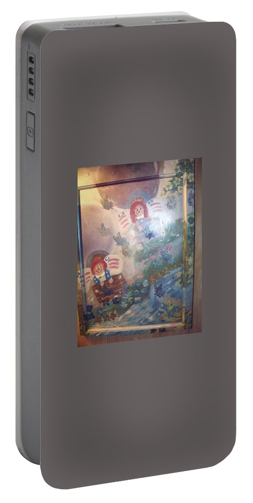 Hot Air Balloons Portable Battery Charger featuring the painting hot air balloon ride Summertime by Mandy Henninger christophel