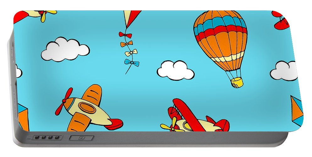 Hot Air Balloons Portable Battery Charger featuring the digital art Hot Air Balloons And Airplanes Fly In The Sky by Long Shot