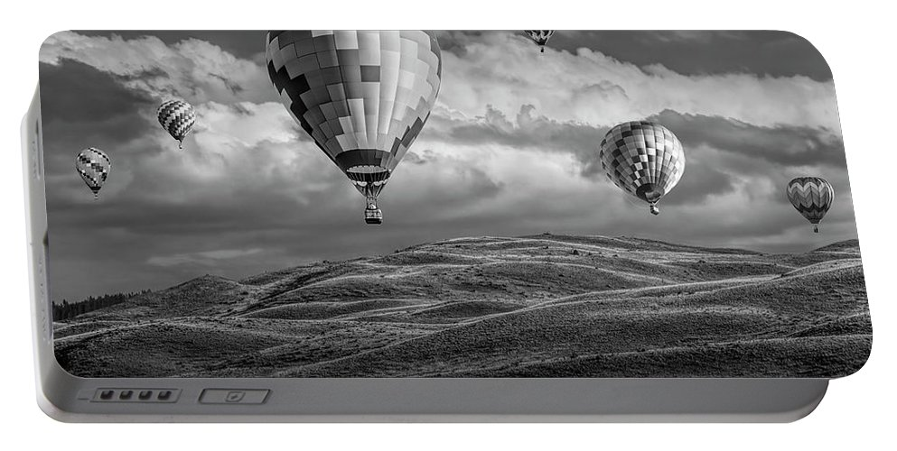 Balloon Portable Battery Charger featuring the photograph Hot Air Balloons In Black And White Over Fields by Randall Nyhof