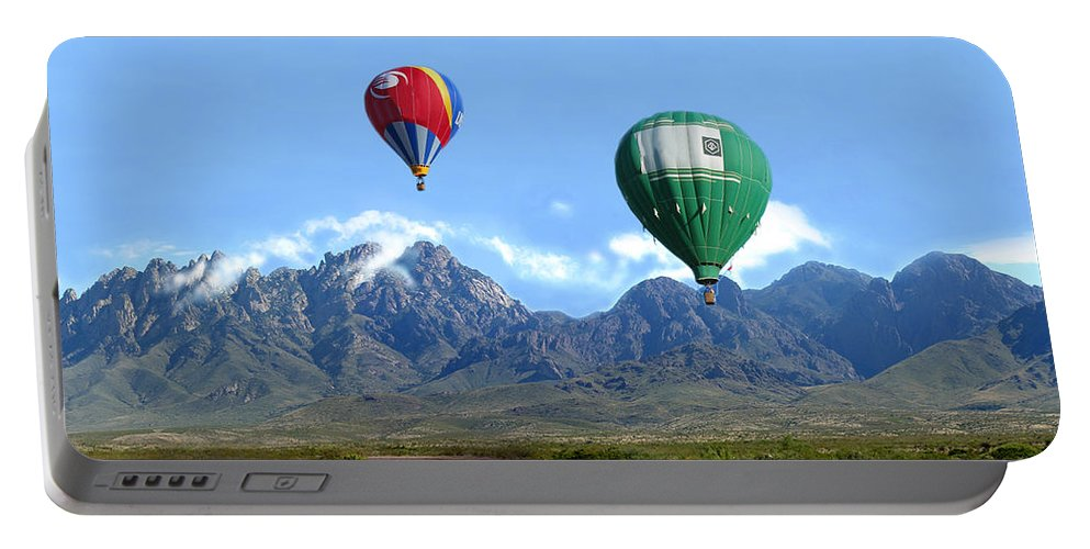 Organ Mountains-desert Peaks National Monument Portable Battery Charger featuring the photograph Hot Air Over The Organ Mountains by Jack Pumphrey