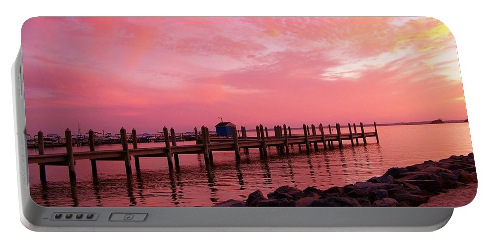 Dock Portable Battery Charger featuring the photograph Hot Bay Sunset by Trish Tritz