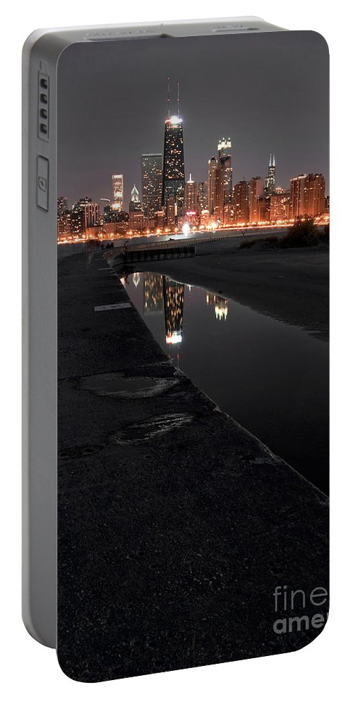 America Portable Battery Charger featuring the photograph Chicago Hot City At Night by Bruno Passigatti