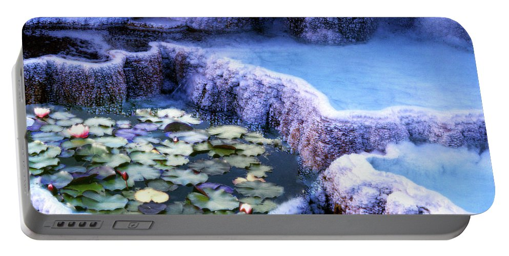 Lily Portable Battery Charger featuring the photograph Hot Springs And Lilies by Wayne King