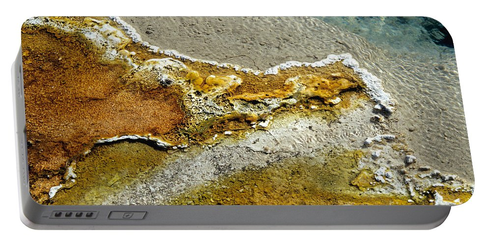 Microbial Mat Portable Battery Charger featuring the photograph Hot Springs Runoff by Inga Spence