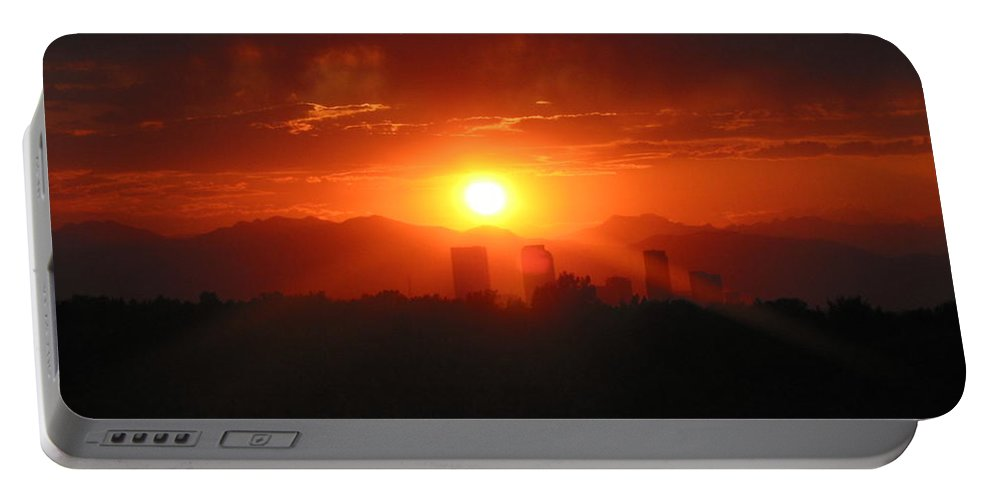 Denver Sunset Portable Battery Charger featuring the photograph Hot Summer Night I Denver Co by Jacqueline Russell