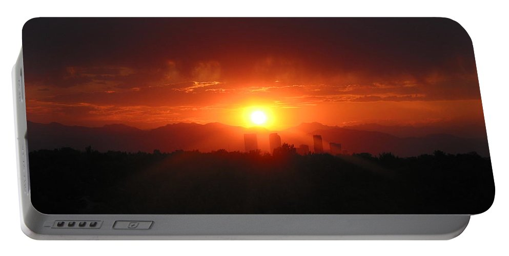 Sunset Portable Battery Charger featuring the photograph Hot Summer Night II Denver Co by Jacqueline Russell