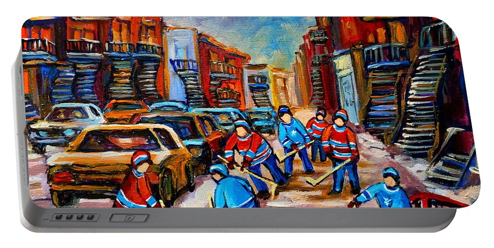 Montreal Portable Battery Charger featuring the painting Hotel De Ville Montreal Hockey Street Scene by Carole Spandau