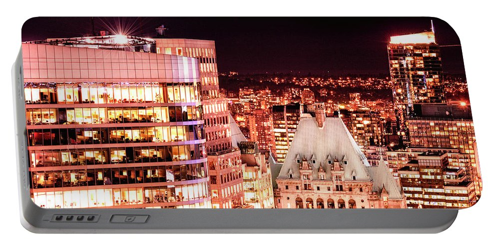 Amyn Nasser Portable Battery Charger featuring the photograph Hotel Vancouver And Sheraton Wall Center by Amyn Nasser