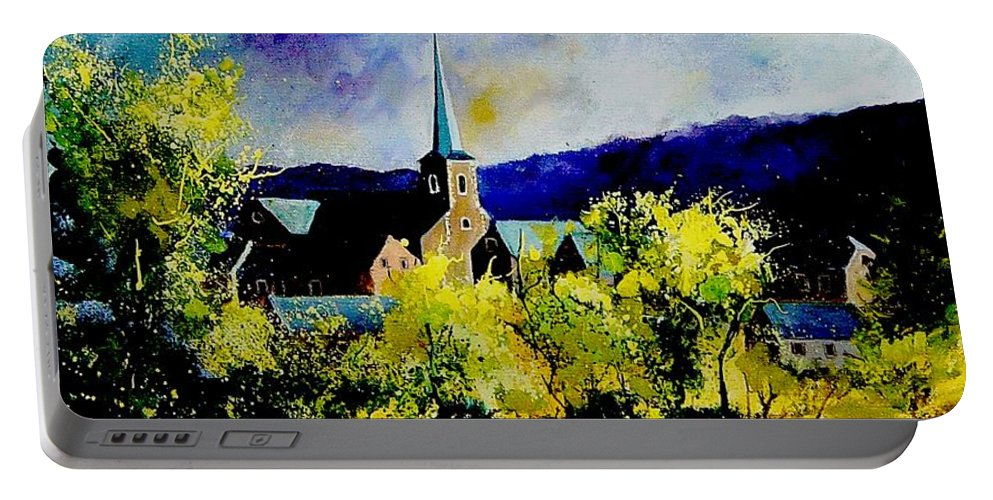 Poppies Portable Battery Charger featuring the painting Hour Village Belgium by Pol Ledent