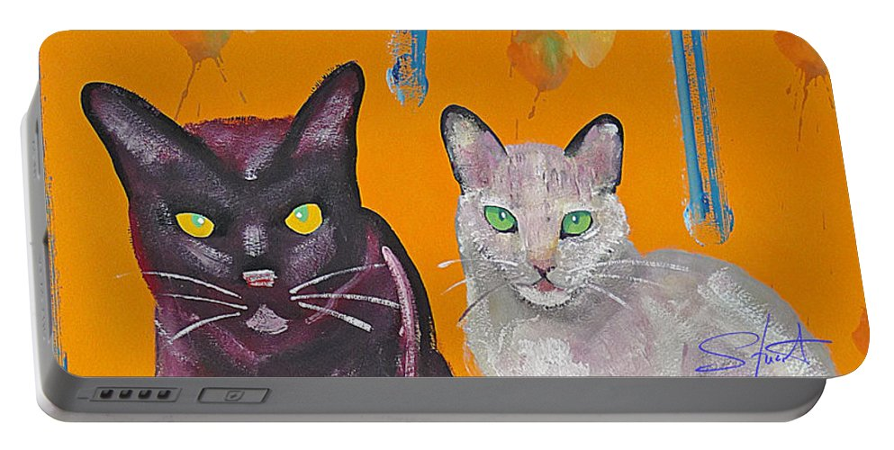 Cat Portable Battery Charger featuring the painting House Cats by Charles Stuart