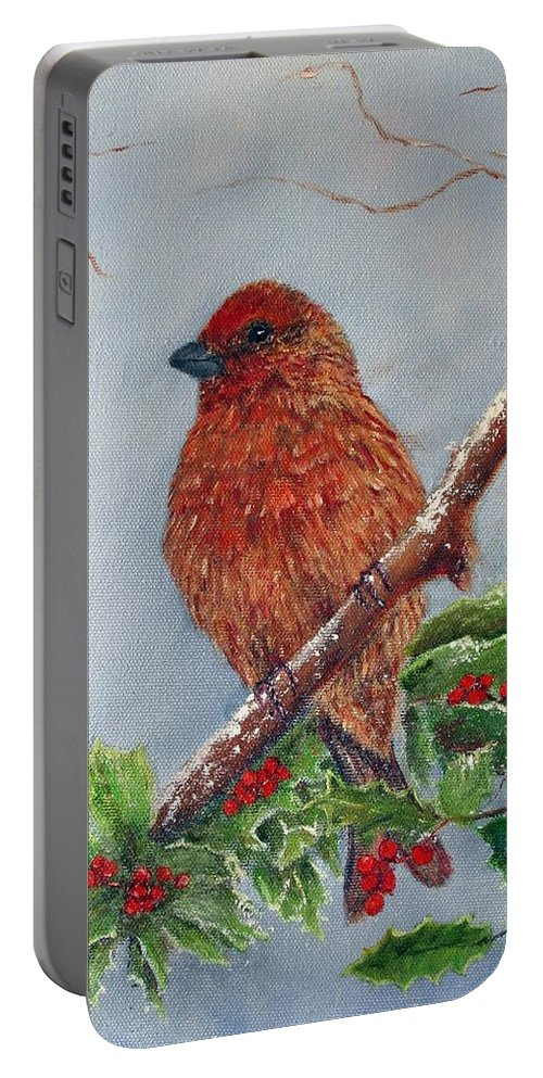 Finch Portable Battery Charger featuring the painting House Finch In Winter by Loretta Luglio