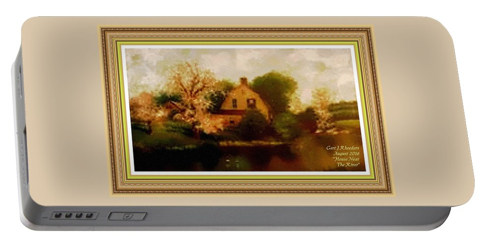 Rural Portable Battery Charger featuring the painting House Near The River. L A With Decorative Ornate Printed Frame. by Gert J Rheeders