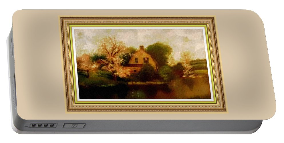 Rural Portable Battery Charger featuring the painting House Near The River. L B With Decorative Ornate Printed Frame. by Gert J Rheeders