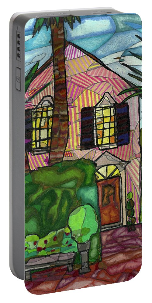 House Portable Battery Charger featuring the drawing House Of Pink by Michelle Brooksbank