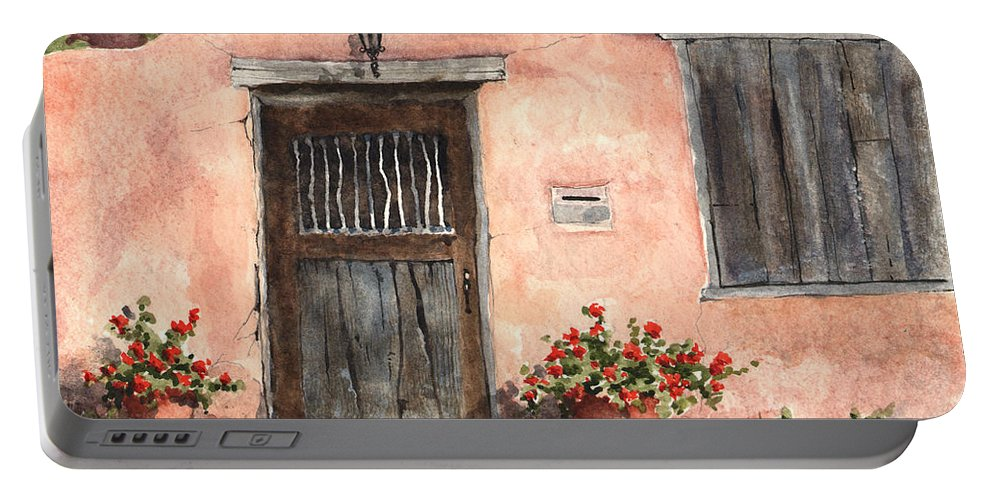 House Portable Battery Charger featuring the painting House On Delgado Street by Sam Sidders