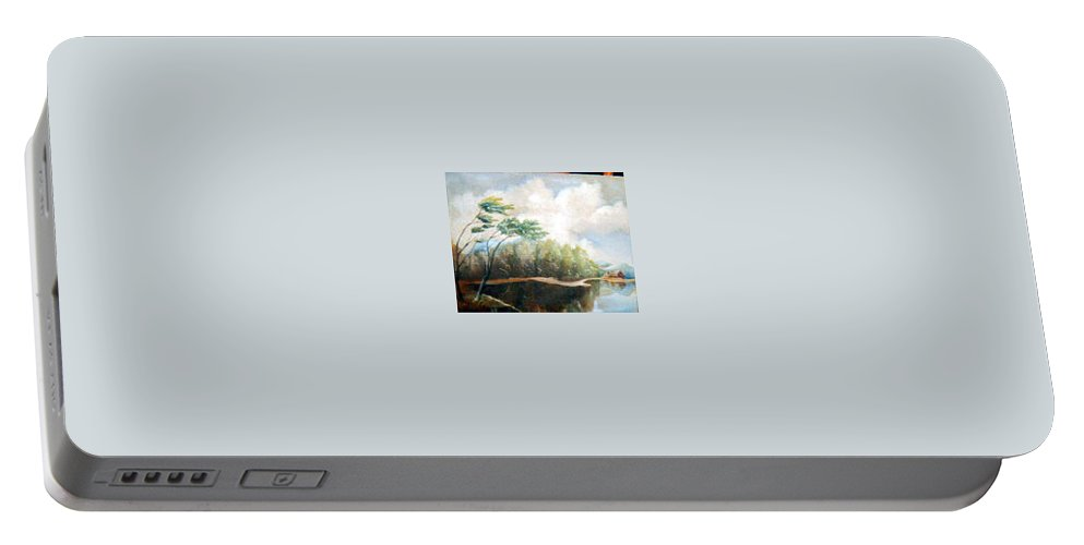 Landscape Portable Battery Charger featuring the painting House On The Lake by Sergey Bezhinets