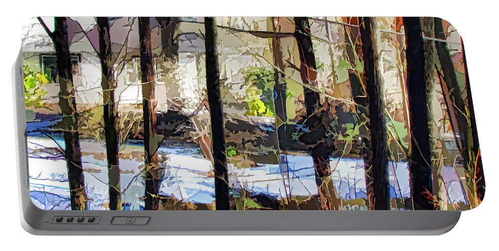 House Surrounded By Trees Portable Battery Charger featuring the painting House Surrounded By Trees 2 by Jeelan Clark