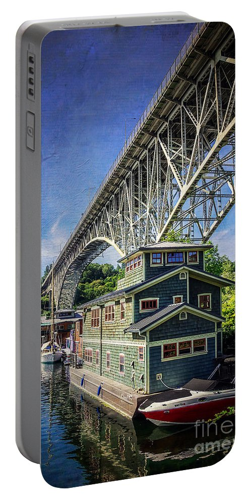 Bridge Portable Battery Charger featuring the photograph Houseboat And Aurora Bridge Seattle by Joan McCool