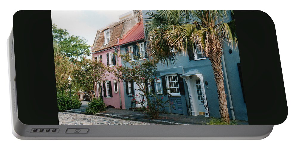 Photography Portable Battery Charger featuring the photograph Houses In Charleston Sc by Susanne Van Hulst