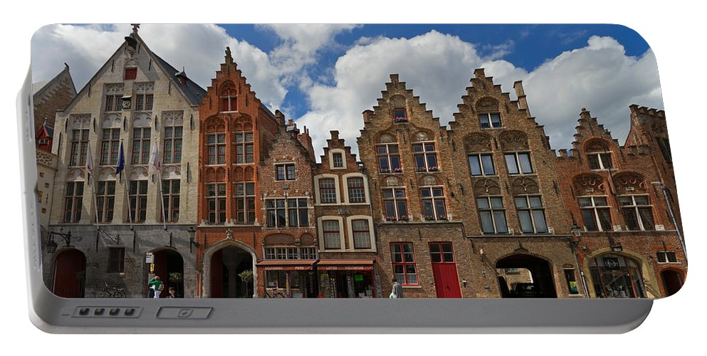 Old Tollhouse Portable Battery Charger featuring the photograph Houses Of Jan Van Eyck Square In Bruges Belgium by Louise Heusinkveld