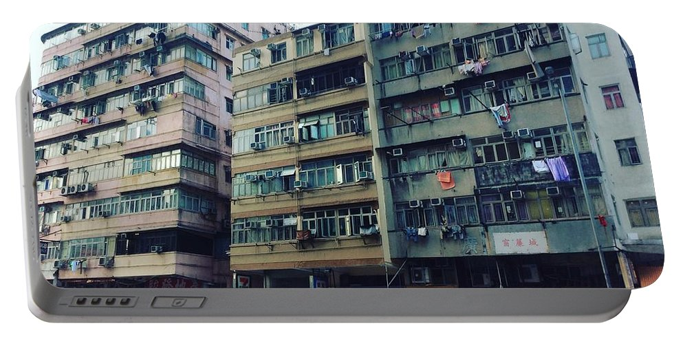 Hongkong Portable Battery Charger featuring the photograph Houses of Kowloon by Florian Wentsch