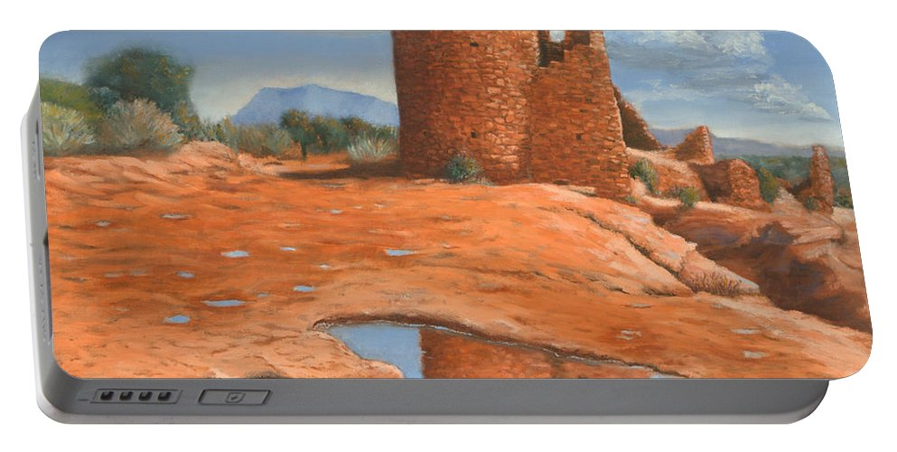 Anasazi Portable Battery Charger featuring the painting Hovenweep Reflection by Jerry McElroy