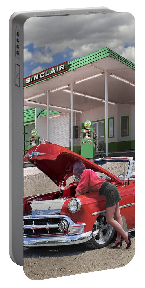 54 Chevy Belair Portable Battery Charger featuring the photograph Over Heating At The Sinclair Station by Mike McGlothlen