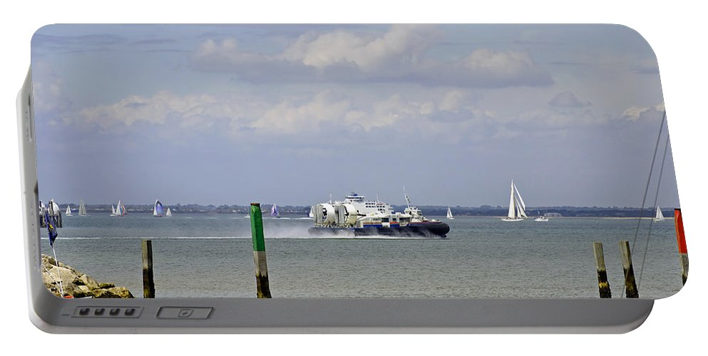 Ryde Portable Battery Charger featuring the photograph Hovercraft Passing Ryde Harbour Mouth by Rod Johnson