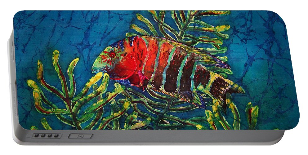Fish Portable Battery Charger featuring the painting Hovering - Red Banded Wrasse by Sue Duda