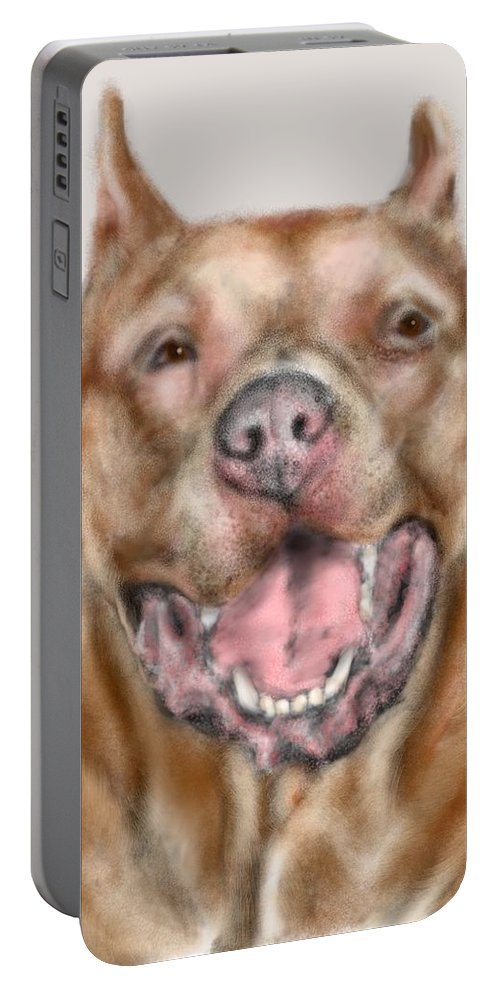 Dog Portable Battery Charger featuring the painting How Bout A Kiss by Lois Ivancin Tavaf