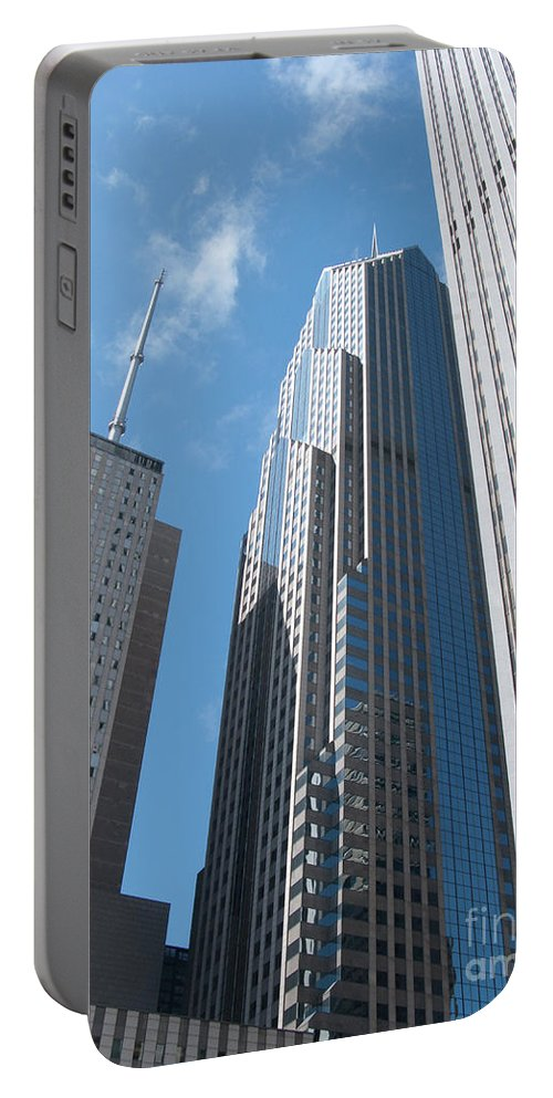 Chicago Portable Battery Charger featuring the photograph How High The Sky by Ann Horn