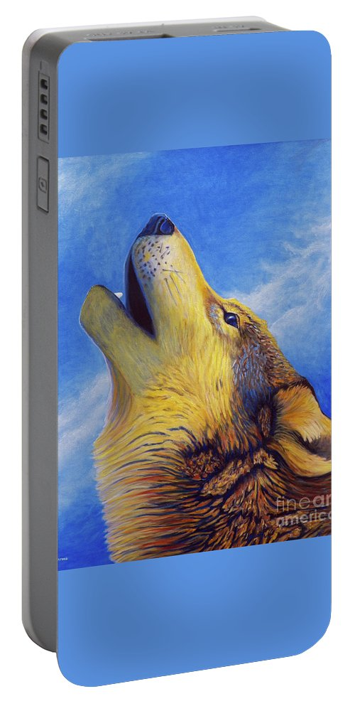 Wolf Portable Battery Charger featuring the painting Howl by Brian Commerford